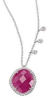 Meira T Women's Diamond, Ruby, 14K White Gold Pendant Necklace