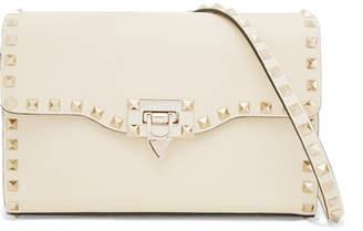 Valentino Garavani The Rockstud Textured-leather Shoulder Bag - Ivory