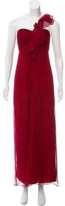 Amsale One-Shoulder Evening Dress
