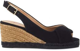 Castaner Brianda Wedge Sandal In Black Canvas And Jute