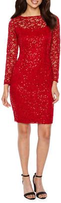BLU SAGE Blu Sage Long Sleeve Sequin Lace Sheath Dress