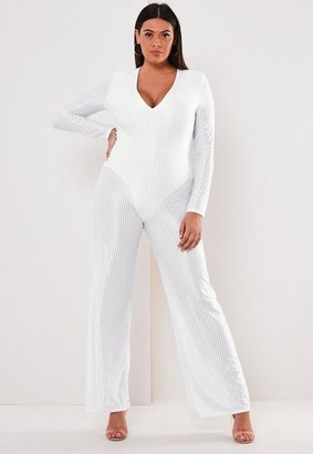 Missguided Plus Size White Sheer Panel Ribbed Wide Leg Romper
