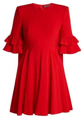 Alexander McQueen Cape Back Crepe Mini Dress - Womens - Red