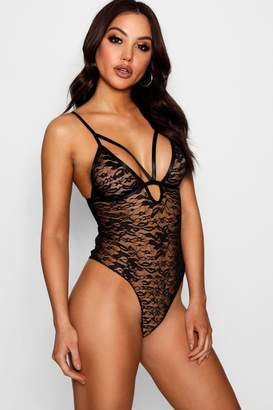 boohoo Lace Caged Strappy Bodysuit