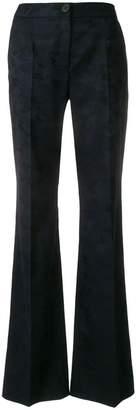 Talbot Runhof camouflage pattern flared trousers
