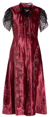 Erdem - Pembroke Crystal Embellished Velvet Dress - Womens - Pink Multi