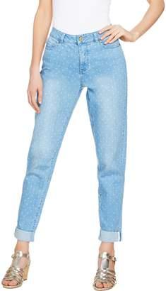 Isaac Mizrahi Live! TRUE DENIM Petite Polka Dot Boyfriend Jeans
