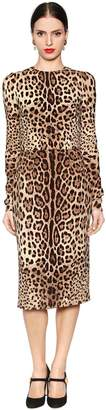 Dolce & Gabbana Leopard Printed Stretch Silk Cady Dress