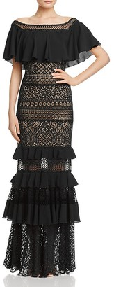 Tadashi Shoji Ruffle & Lace Gown $588 thestylecure.com