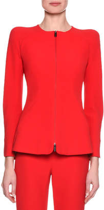 Giorgio Armani Collarless Zip-Front Silk Jacket, Pink