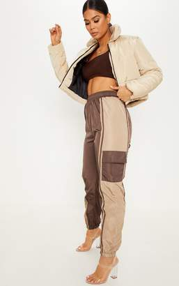 PrettyLittleThing Chocolate Contrast Panel Pocket Shell Jogger