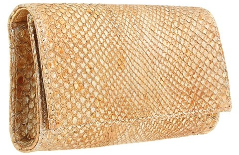 Carlos Falchi Handbags Brushed Metallic Anaconda Box Clutch