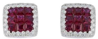 Bony Levy 18K White Gold Invisibly Set Ruby & Pave Diamond Halo Square Stud Earrings - 0.19 ctw