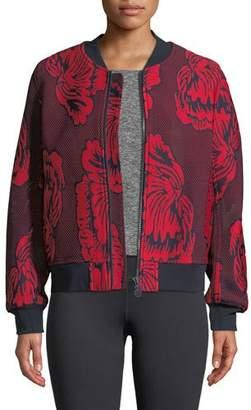Tory Sport Soho Floral-Embroidered Mesh Bomber Jacket
