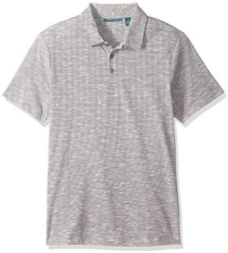 Perry Ellis Men's Solid Slub Stripe 3 Button Polo Shirt