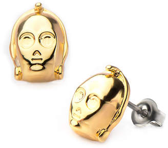 Star Wars FINE JEWELRY Gold Ion-Plated Stainless Steel C-3PO 3D Stud Earrings