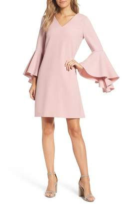 Eliza J Bell Sleeve Crepe Shift Dress