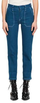 Chloé Straight-Leg Patch-Pocket Stretch-Denim Ankle Pants