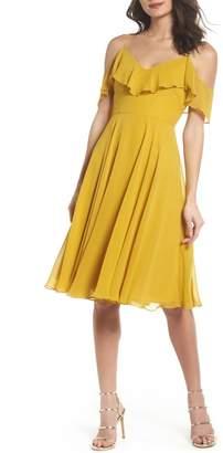Jenny Yoo Collection Kelli Cold Shoulder Chiffon Dress