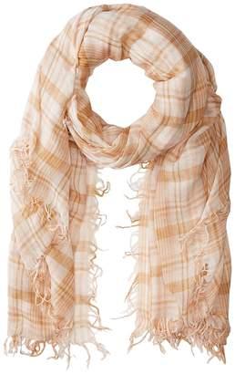 Chan Luu 70% Cashmere 30% Silk Plaid Print Scarf Scarves