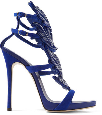 Giuseppe Zanotti - Cruel Embellished Suede Sandals - Blue $1,595 thestylecure.com