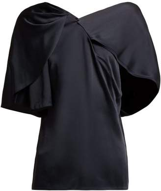 Peter Pilotto Cape Sleeved Asymmetric Satin Top - Womens - Navy