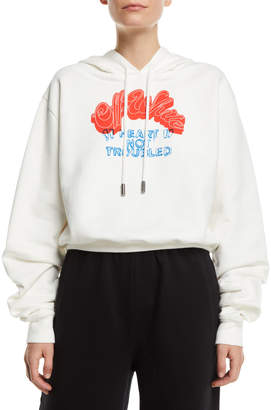 Off-White Off White Heart Not Troubled Logo Crop Hoodie Sweatshirt