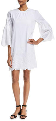 MICHAEL Michael Kors 3/4-Sleeve Eyelet-Trim Shift Dress