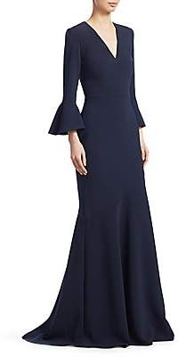 Theia Women's Bell Sleeve V-Neck Gown