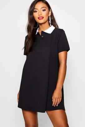 boohoo Petite Polo Shirt Style Mini Dress