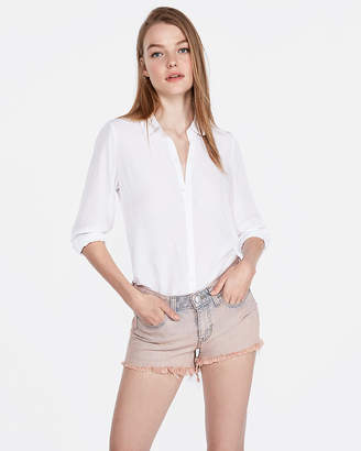 Express Low Rise Peach Overdyed Stretch Denim Shortie
