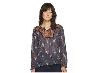Cruel Embroidered Peasant Sleeve Blouse Women's Clothing
