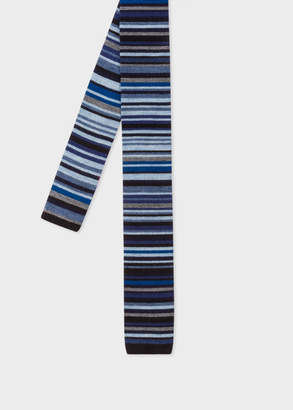 Paul Smith Men's Navy 'Signature Stripe' Knitted Wool Tie