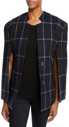 Awake Fitted Notch-Collar Check Jacket with Open Sleeves