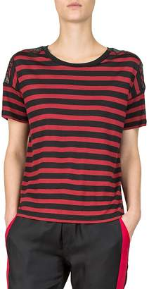 The Kooples Striped Lace-Inset Tee