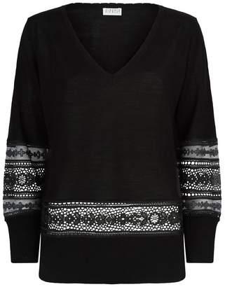 Claudie Pierlot Lace Insert V-Neck Sweater