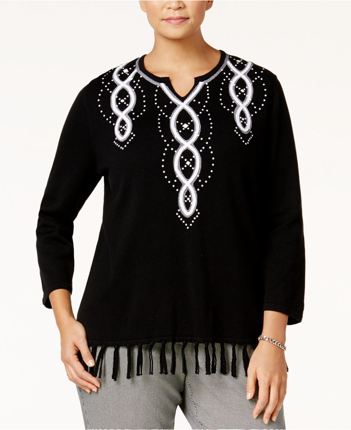 Alfred Dunner Alfred Dunner Plus Size City Life Collection Embellished Fringe Sweater