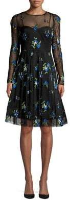 Taylor Floral Illusion Fit-&-Flare Dress