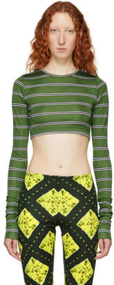 Marc Jacobs Green Redux Grunge Striped Cropped Shirt