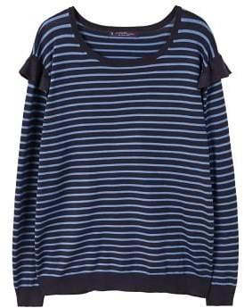 Violeta BY MANGO Ruffle striped sweater