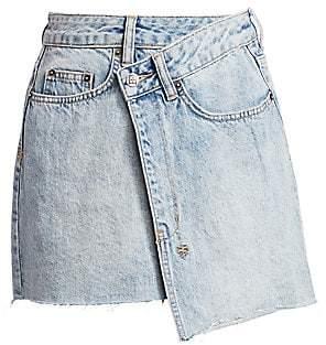 Ksubi Women's Sign Of The Times Asymmetric Denim Wrap Skirt