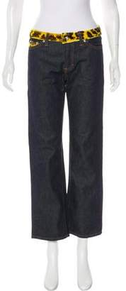 Dolce & Gabbana Ponyhair-Trimmed Mid-Rise Jeans