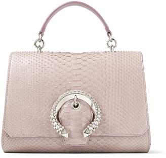 Jimmy Choo MADELINE TOP HANDLE Mauve Python Top Handle Bag with Crystal Buckle