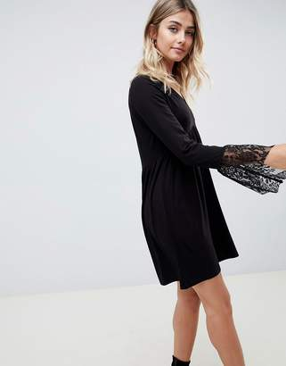 Asos DESIGN v neck swing dress with flared lace cuffs