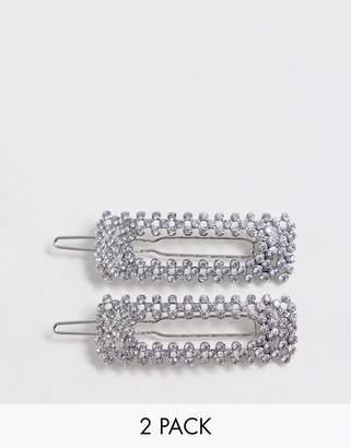 Asos Design DESIGN pack of 2 hair clips in square shape in crystal and silver pearl