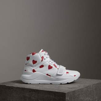 Burberry Heart Print Leather High-top Sneakers