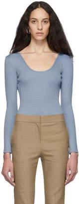 Tibi Blue Wool Jersey Lightweight Scoop Neck Bodysuit