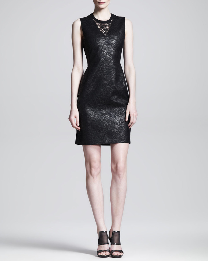 Reed Krakoff Lace-Front Shift Dress