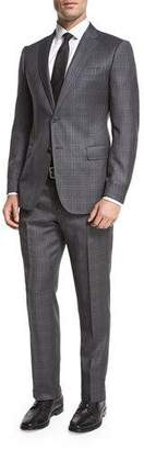 Armani Collezioni Windowpane Check Wool Two-Piece Suit, Gray/White