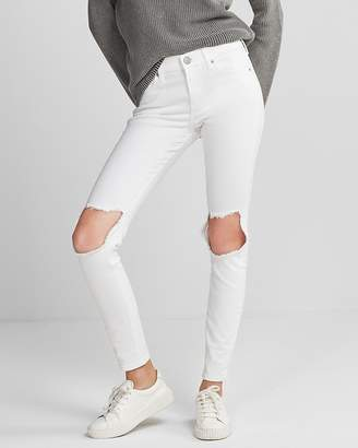 Express Mid Rise White Blown-Out Knee Stretch Jean Leggings